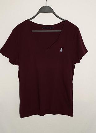 Бордовая футболка с v-образным вырезом ralph lauren оригинал