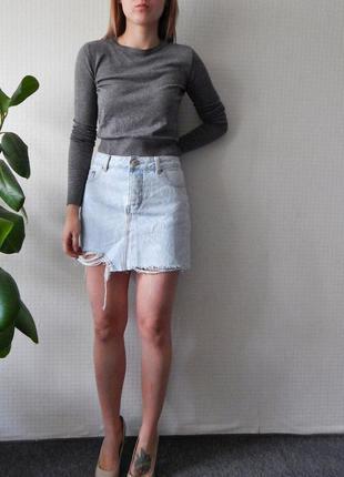 Рваная джинсовая юбка asos