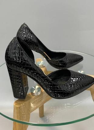 Эксклюзивные туфли лодочки итальянская кожа рептилия