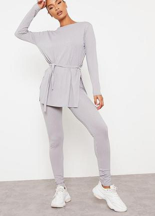 Леггинсы i saw it first grey ribbed high waist leggings