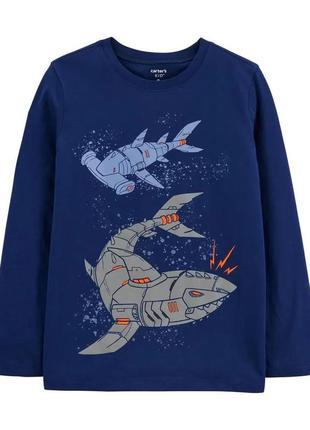 Темно-синій трикотажний топ з акулами-роботами для хлопчика картерс