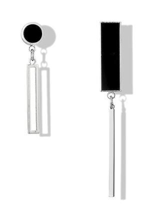 Асимметричные серьги черные детали геометрия / большая распродажа!