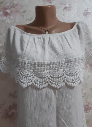 Блуза плечи, с кружевом