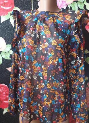Шифоновая блузка в цветы с рюшем р 44