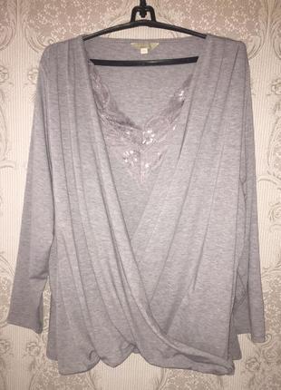 Блуза двойка/ обманка с кружевом большой размер