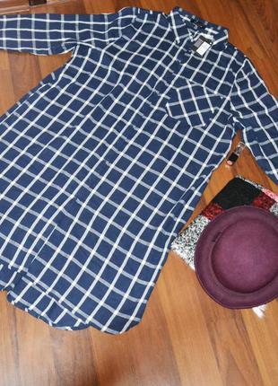 Новое натуральное платье-рубашка с принтом в клетку, платье для беременных