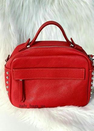 Красная сумка, натуральная кожа