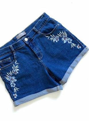 Стильные джинсовые синие шорты с вышивкой denim  размер 10