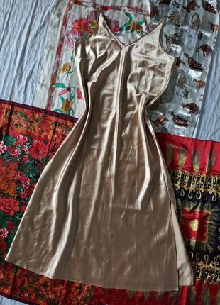 Sleep dress от бренда marks & spencer платье в бельевом стиле шолковое бежевое
