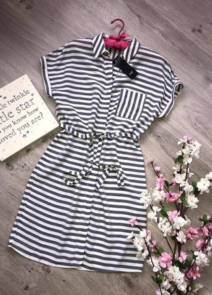 Очень легкое и стильное платье-рубашка в полоску