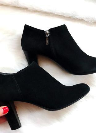 Замшевые ботинки сапоги полусапожки на каблуке (38/25см)