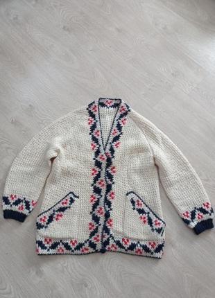 Ручная робота. свитер кардиган с орнаментом вышивка