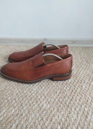 Кожаные мужские коричневые туфли 41 р без шнурков