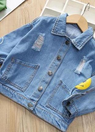 Джинсовий піджачок в стилі оверсайз, 100% джинс, не тягнеться, джинсовка