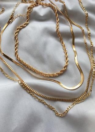 Многоуровневая цепь цепочка ожерелье на шею колье 4 в 1 чокер подвеска