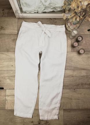 Брендовые стильные натуральные брюки с карманами и поясом next 100% лен