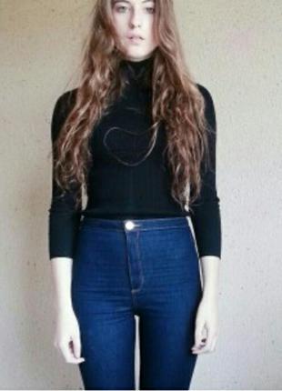 Тёмно синие джинсы с высокой талией denim co