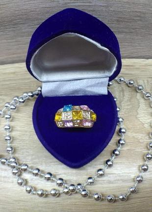 Радужное эллиптическое кольцо с австрийским кристаллом