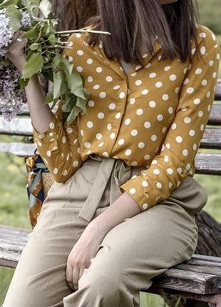 Горчичная рубашка stradivarius