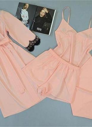 Комплект домашней одежды четверка халат майка штаны и шорты.