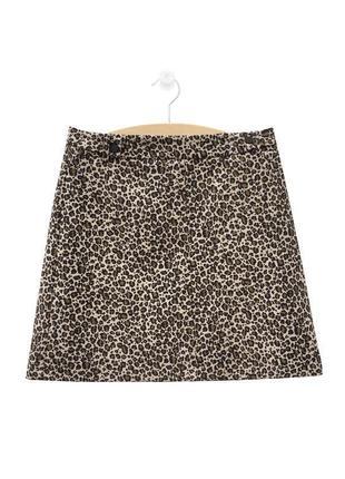Стильная юбка трапеция из жаккарда животный принт topshop