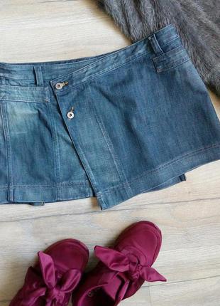 Класна брендова джинсова спідниця на запах
