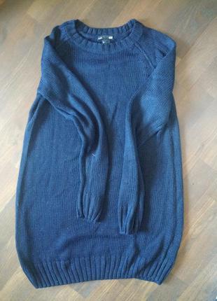 Темно синее платье вязаное h&m