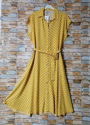 Платье на пуговицах в горошек