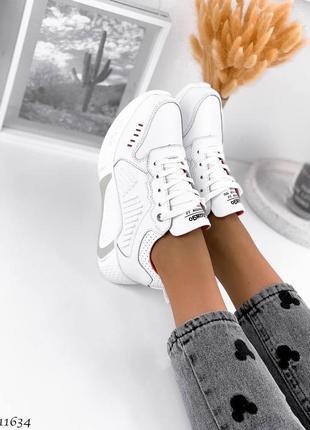 Белые летние кроссовки натуральная кожа