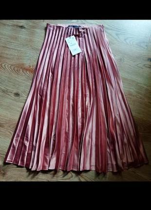 Плесированная оригинпльная юбка зара,розовая