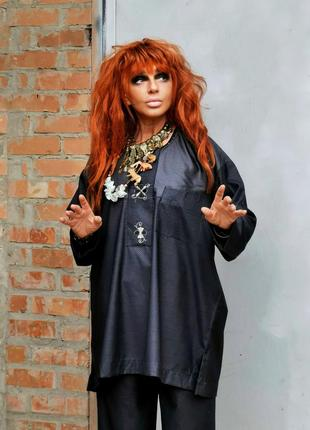 Туника в крапинку блуза с накладным карманом вышивка в бохо этно стиле батал оверсайз