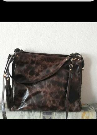 Дуже якісна італійська сумка з грубої телячої шкіри