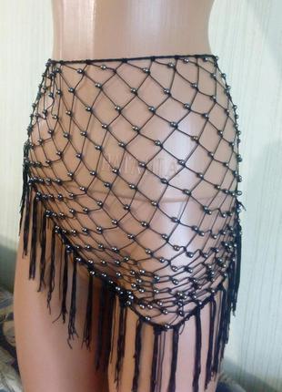 Платок-украшение со вставками шариков, с кистями. аксессуар. раз.50х67.