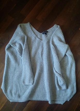 Серый укороченный вязаный свитер оверсайз topshop