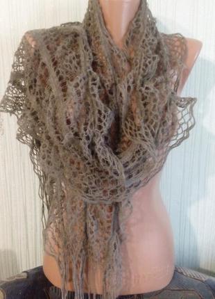 Шарф ажурный, волнообразный на резиночках-тянется. раз.30х195. цвет серый.