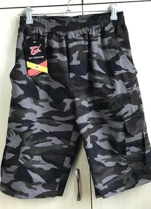 Камуфляжные бриджи шорты с накладными карманами