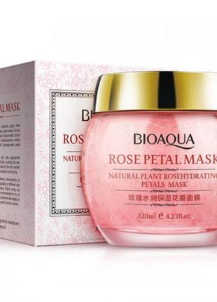 Гелева маска для обличчя bioaqua rosepetal mask natural plant rosehydrating petals mask з пелюстками троянд