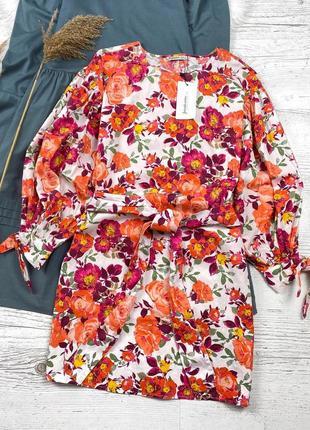 🌸 новое шикарное платье в цветочный принт от stradivarius с поясом