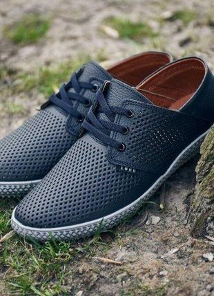Кожаные мужские туфли с перфорация