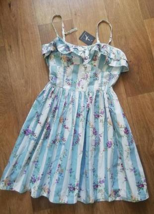 Натуральный котоновый сарафан в стиле прованс, сарафан на брителях с рюшами, сукня, платья, плаття, платье