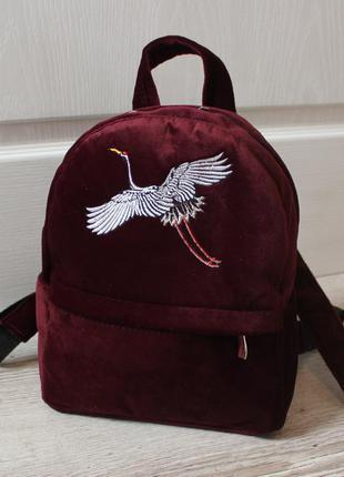 Хит сезона стильный рюкзак, марсала, бархат