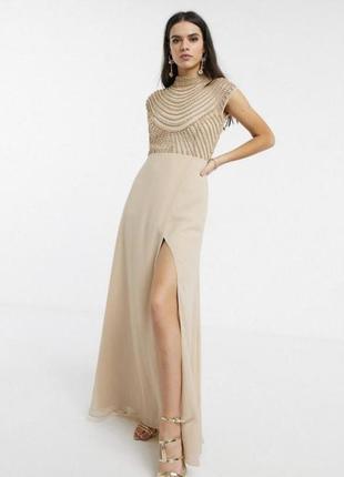 Платье asos с разрезом и расшитым верхом