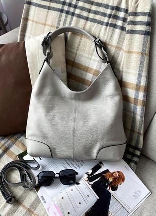 Большая мягкая женская серая кожаная шкіряна сумка, италия