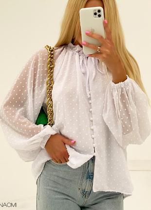 Женская шифоновая блуза с рукавами