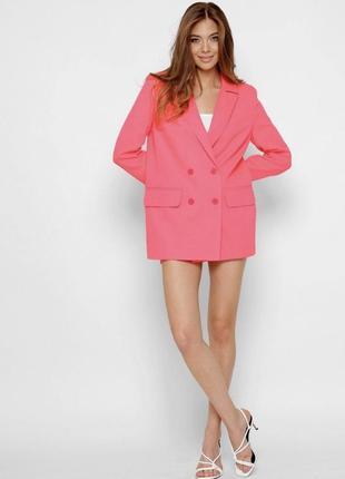 Двубортный пиджак кораллового цвета2 фото