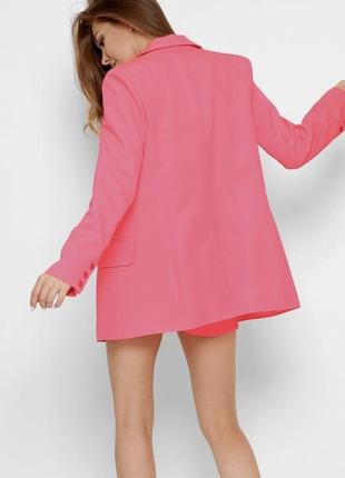 Двубортный пиджак кораллового цвета3 фото