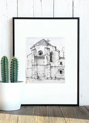 Картина hand made графіка малюнок рисунок старий костел подарунок