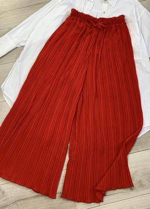 Красные штаны кюлоты zara высокая посадка