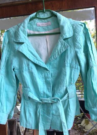 Пиджак zara натуральный лен небесного цвета интересный крой