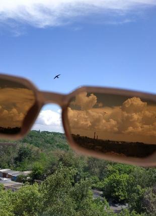 Очки узкие бежевые телесные прямые прямоугольные коричневые солнцезащитные6 фото